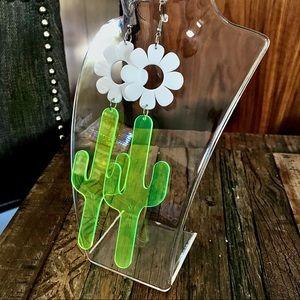 Flower Power Cactus Lucite Dangle Earrings Large